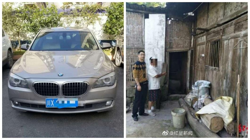 開著BMW名車的男子竟然涉嫌偷雞鴨,被逮後他稱說拿去變賣換些油錢。(合成圖/翻攝自微博) 開BMW名車…半夜潛村偷鄰居雞鴨 男稱:變賣換油錢