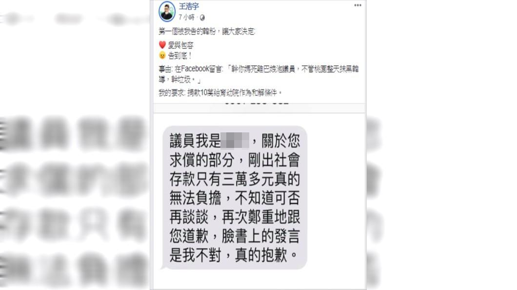 王浩宇5日深夜發文,將針對其中一名對他肆意謾罵的韓粉提告求償10萬,對方傳訊求饒稱自己存款只有3萬元。(圖/翻攝自王浩宇臉書)