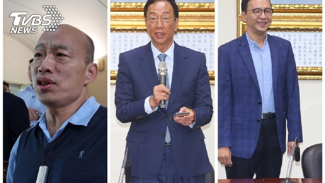 高雄市長韓國瑜(左)、鴻海前董事長郭台銘(中)、前新北市長朱立倫(右)圖/中央社 韓國瑜民調互比跌至第三 他斷言:715八德夜市恐開張