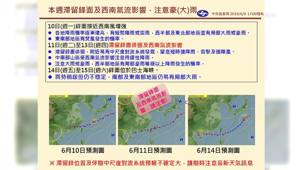 本週鋒面加上西南氣流影響,將為全台各地帶來雨勢。圖/翻攝報天氣 - 中央氣象局臉書