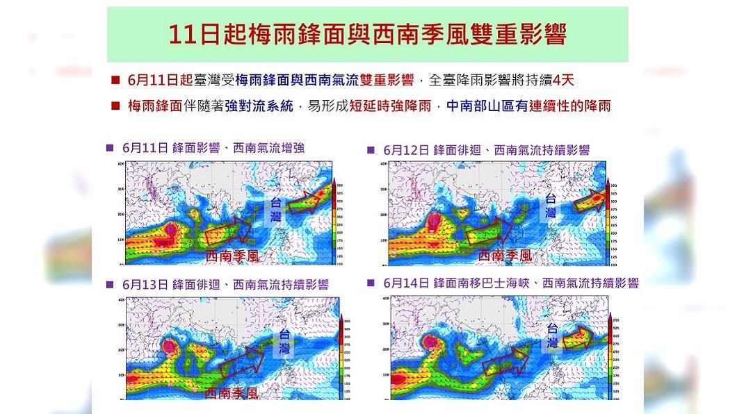 週二梅雨鋒、西南氣流雙重影響,將替台灣帶來一天4天的降雨。圖/翻攝國家災害防救科技中心