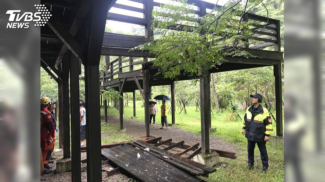 圖/中央社 白蟻蛀蝕釀木棧道崩塌 台中14人受傷送醫