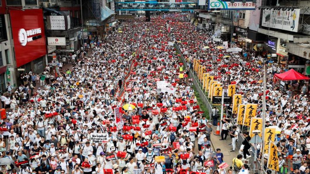 圖/達志影像路透 反對北京治港「逃犯條例」百萬人大遊行