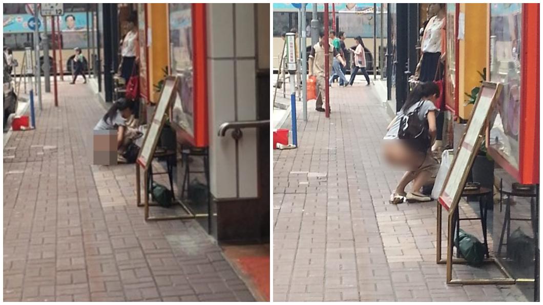 圖/翻攝香港花生友臉書 馬尾妹當街脫褲解放!屁股蛋全都露 「產後不理」閃人