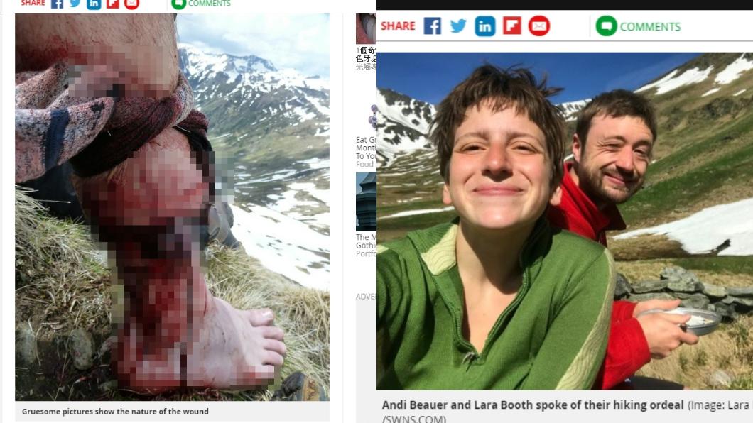 圖/翻攝自Mirror 登山遇到熊!男「肉被撕爛」腿骨慘斷 女友靠這招救他命