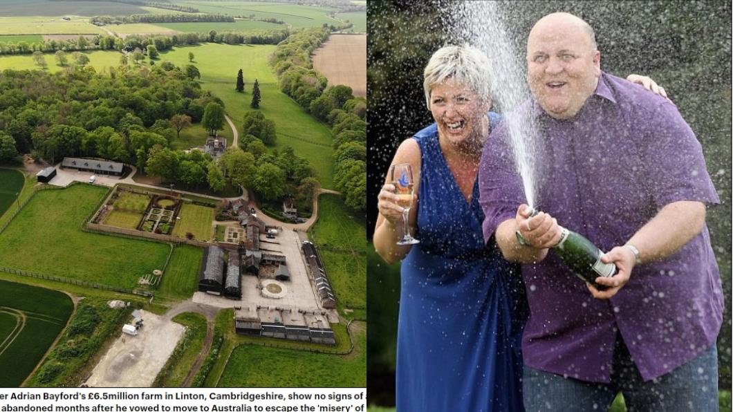 安德里中獎後與妻子開香檳慶祝。圖/翻攝自每日郵報 樂透中58億!男爽買別墅+飛機 7年後下場超悲傷