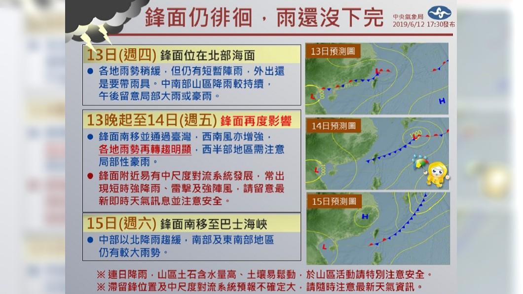 這波鋒面所帶來的雨勢尚未結束,到了週六(15日)降雨會由北往南緩和下來。圖/中央氣象局
