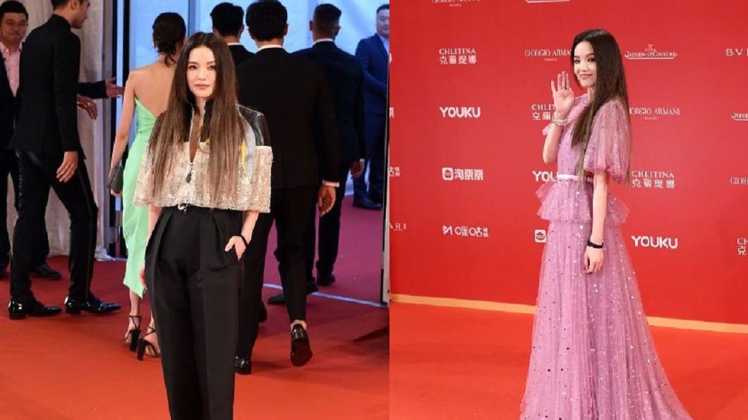 舒淇出席上海國際電影節,兩套紅毯造型。圖/翻攝自微博