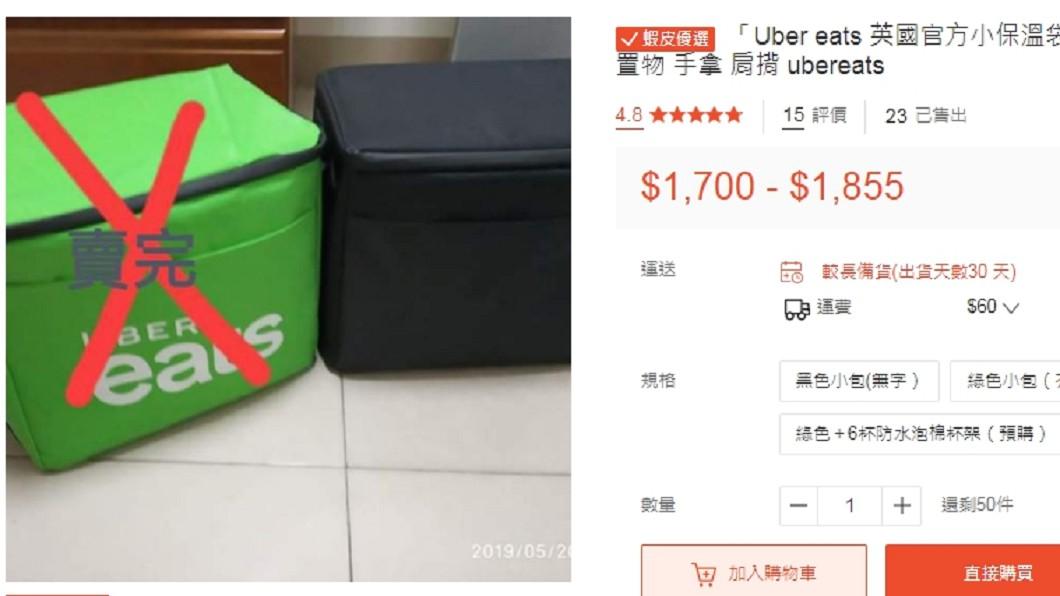 小尺寸、無商標的保溫包就已經要價1千7百元。圖/翻攝蝦皮