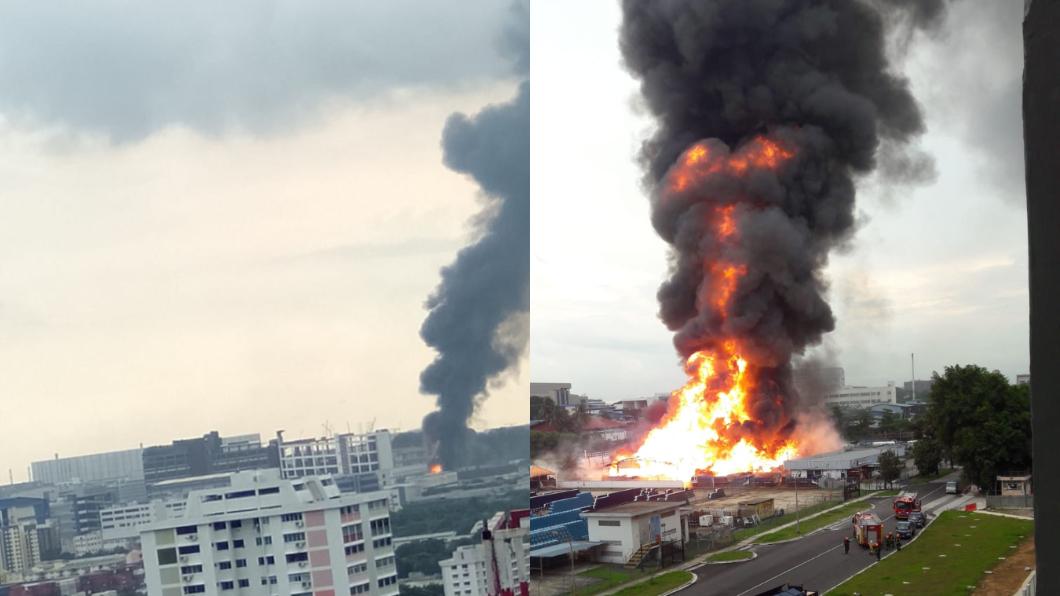 這是近30年來最嚴重的火災。圖/翻攝自sathishkumarg51推特 30年來最嚴重火災!新加坡石油氣廠爆炸釀1死2傷