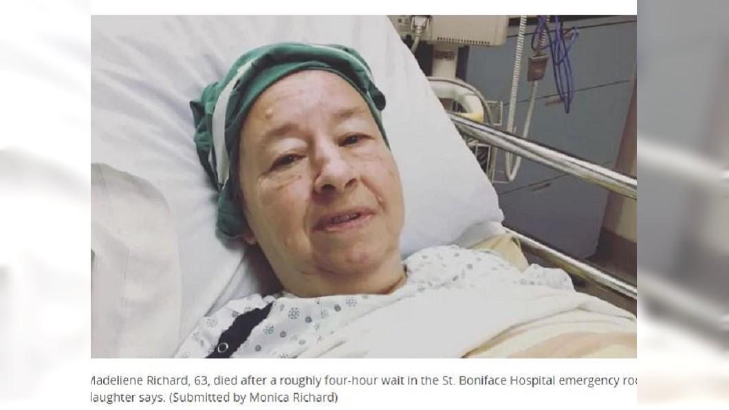 加拿大一名婦人送往醫院急救,等了5小時才有醫師來看,但她卻已經回天乏術。(圖/翻攝自CBC)
