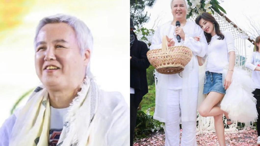 林瑞陽先前出席活動時,白衣套裝再加上圓潤體態,被網友調侃是「張庭的老奶奶」。圖/翻攝自微博 崩壞成白髮奶奶後再現身 張庭曝尪12天暴瘦5kg