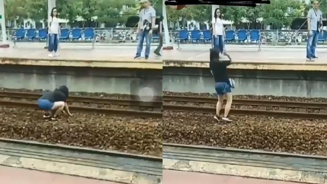 圖/翻攝自 台灣便當管理局-附屬鐵路部 臉書 也選選地方!火車站爭吵 女暴怒跳軌丟石頭攻擊