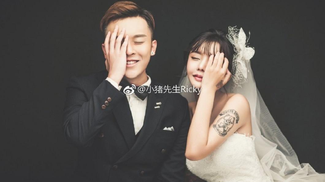 韓安冉上星期和才和丈夫補辦婚禮。(圖/翻攝自微博)