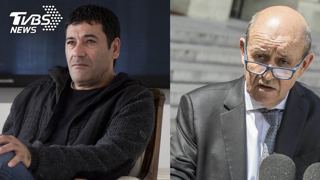 騙子希克里(左)佯裝法國現任外交部長勒德里安(右)。圖/達志影像美聯社 驚!男子戴矽膠面具扮法外長 成功騙取28.7億