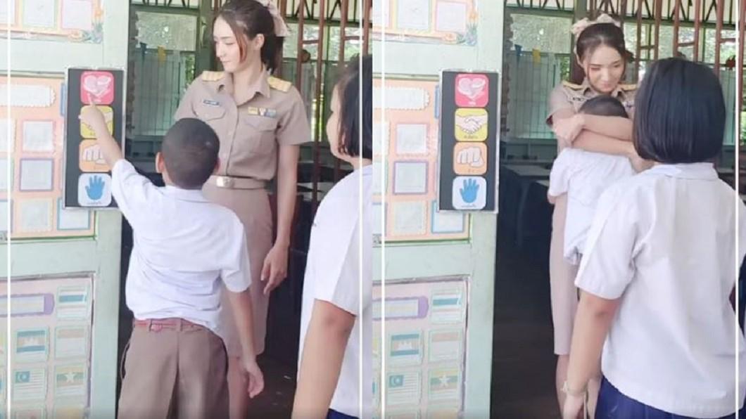 圖/翻攝自泰國清邁象臉書 美女老師開放抱抱!男學生緊緊深埋「長輩」 網羨慕看哭