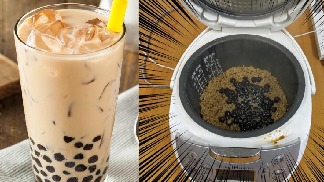 近日又有日本記者突發奇想,把珍奶拿來煮飯。圖/翻攝自TVBS、SoraNews24網站 驚!拿珍奶煮茶泡飯也可以 他吃完直呼:有驚喜