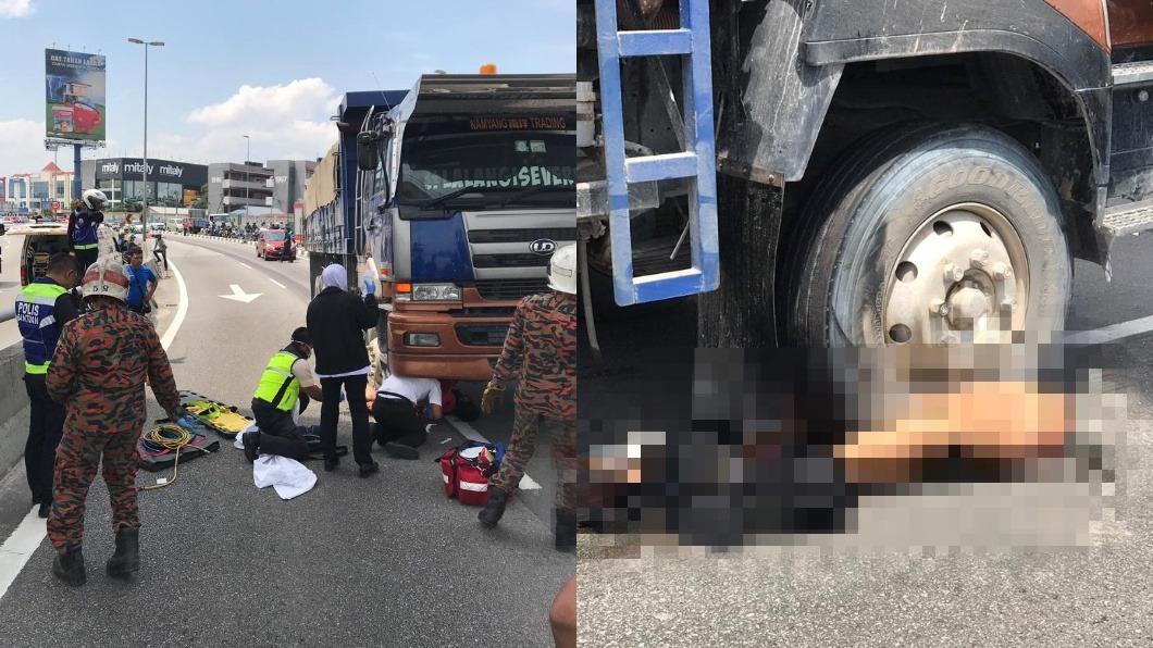 圖/翻攝自中國報 悚!撞貨車遭拖行百公尺 騎士斷2截「臟器外露」慘死