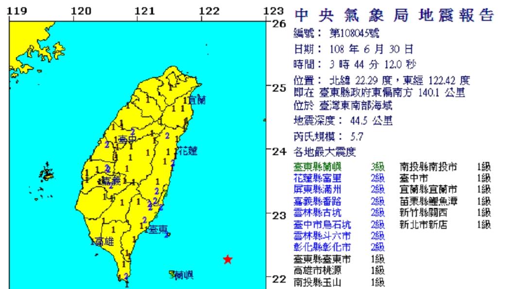 圖/翻攝自中央氣象局網站 凌晨地牛翻身 台東規模5.7地震最大震度3級