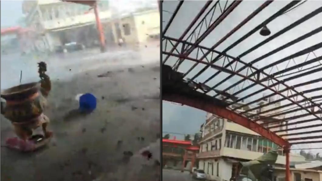超大龍捲風摧毀宮廟。圖/截自爆廢公社