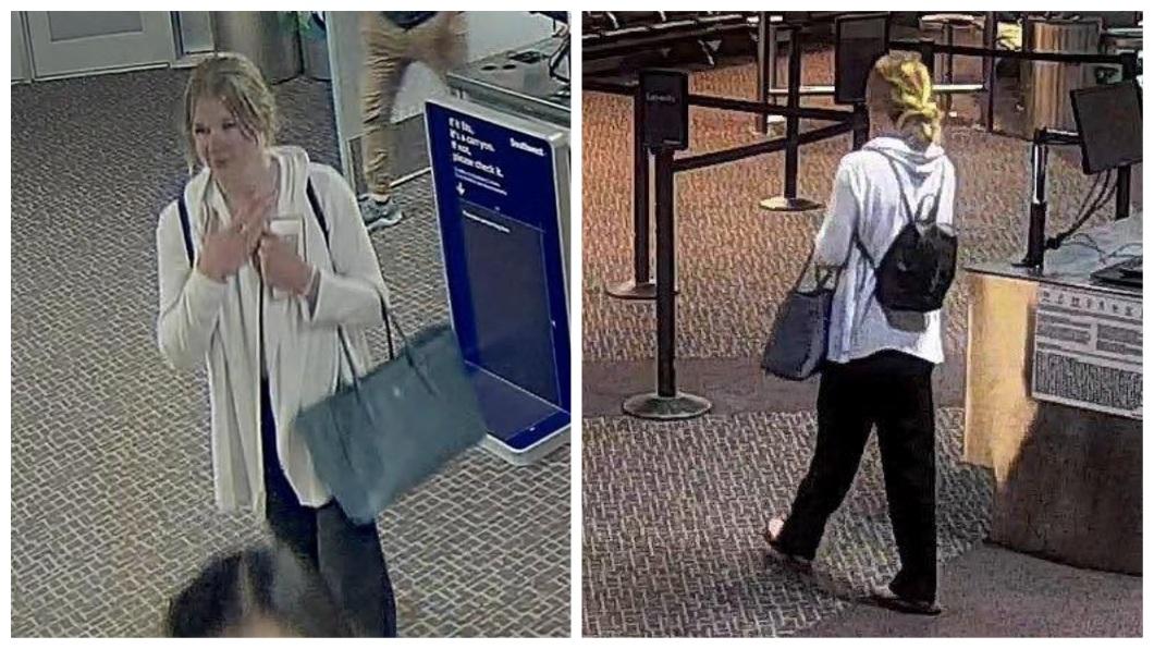 當時她在機場內,監視器拍下她最後身影。(圖/翻攝自臉書)