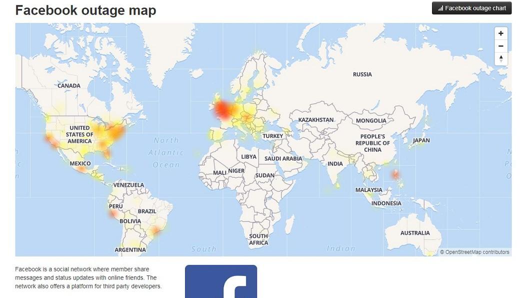 圖/截自Facebook outage map網站 快訊/臉書、IG今晚大當機 歐美重災台灣也中