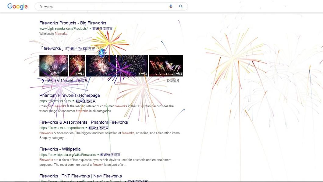 圖/翻攝自Google網頁 慶祝美國慶日! 谷歌搜尋輸入fireworks有彩蛋
