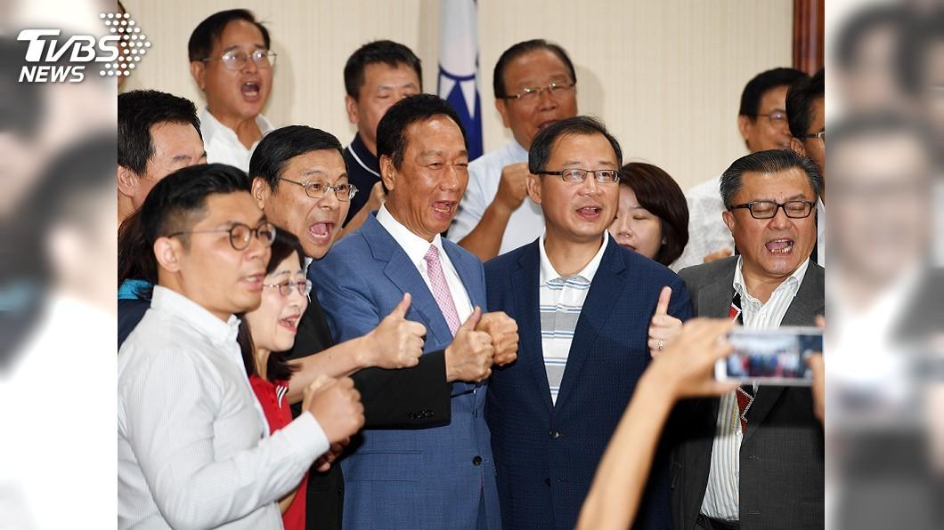 圖/中央社 郭台銘現身國民黨團大會 喊立院藍委席次要過半