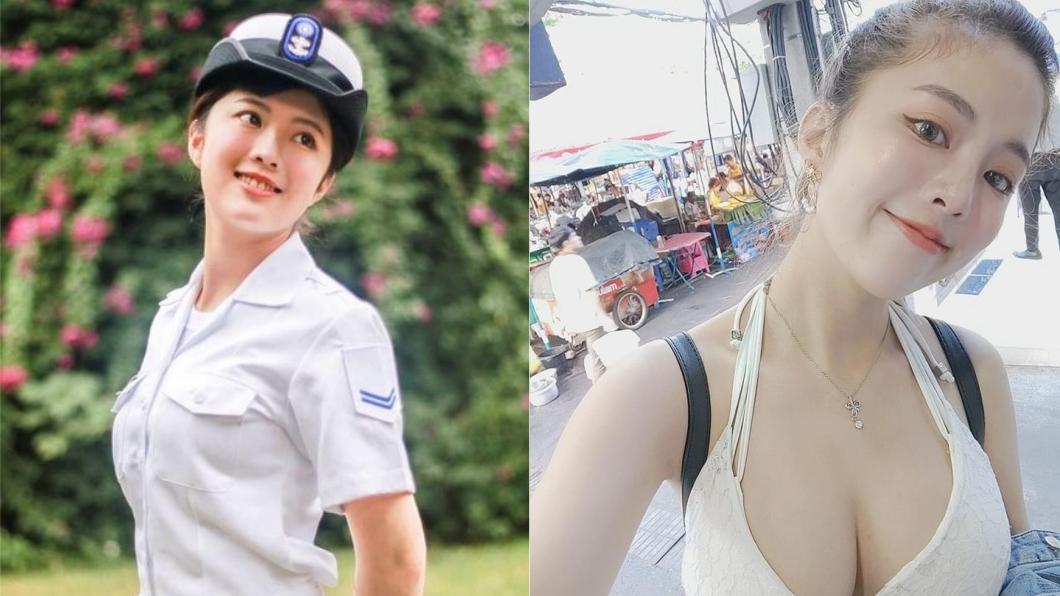 擁有「海軍之花」稱號的黃采潔甜美又火辣。圖/翻攝自(左)PPT、(右)黃采潔Facebook 海軍之花再升級!甜笑曝「我親妹入伍」 三姊妹全簽了