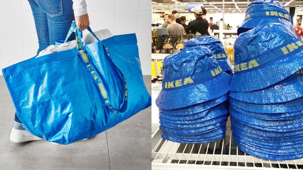 藍色環保袋Frakta是IKEA的熱門商品。圖/翻攝自IKEA台灣官網(左);IG@basedofhype(右) 限量「購物袋漁夫帽」秒完售 網拍價格翻10倍!