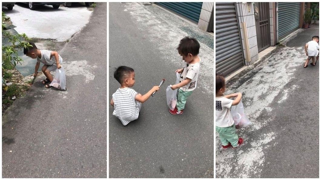 有一名媽媽分享自己2個兒子愛吵架,她就罰兄弟倆去撿垃圾。(圖/翻攝自爆廢公社)