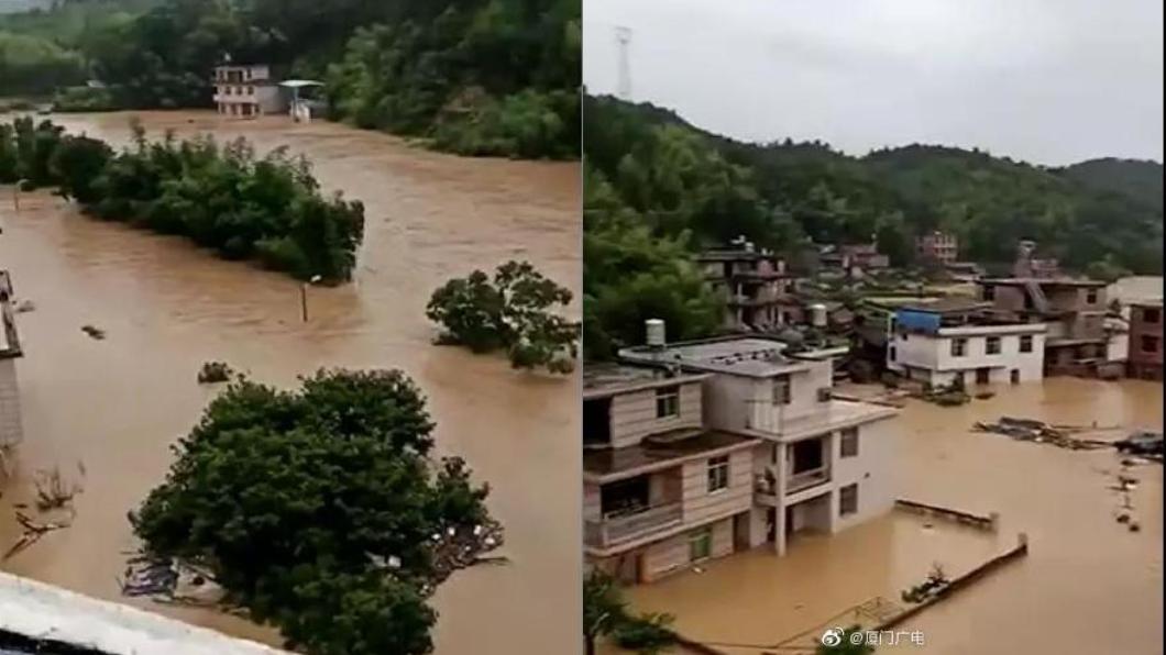大陸福建省受暴雨襲擊,損失慘重。圖/翻攝自微博