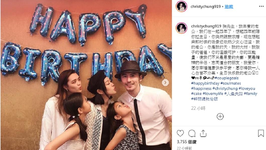 鍾麗緹幫老公張倫碩慶祝37歲生日。圖/翻攝自鍾麗緹IG