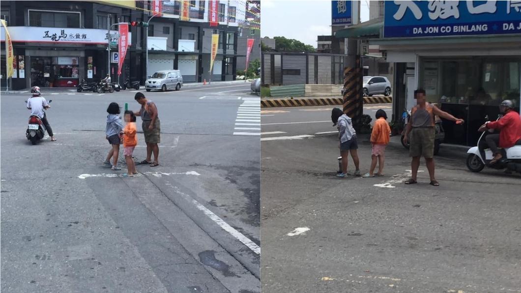 圖/翻攝自臉書「爆廢公社二館」 他看見馬路有破洞 自掏腰包帶2女補坑被讚爆