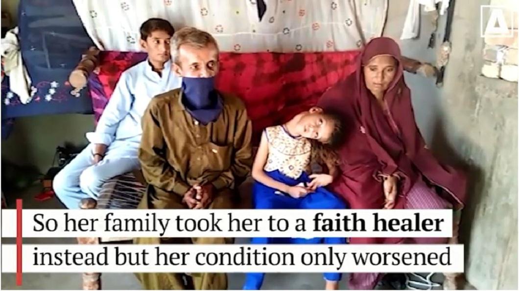 女童的父親去年癌症病逝,哥哥為了照顧她辭掉工作,全家經濟重擔落在母親身上。(圖/翻攝自YouTube)