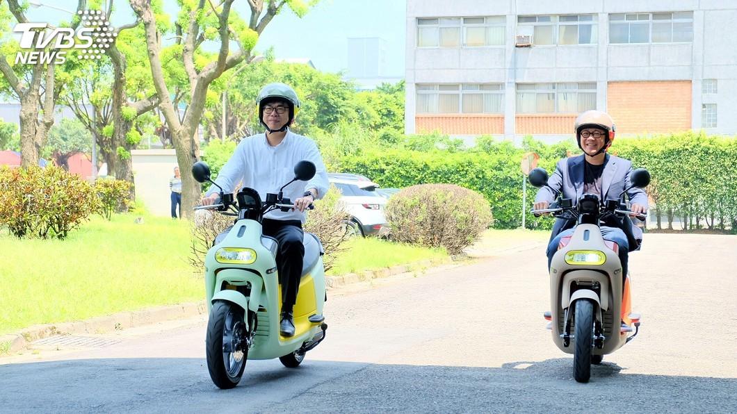 圖/中央社 陳其邁參訪Gogoro工廠 盼電動機車產業漸成形