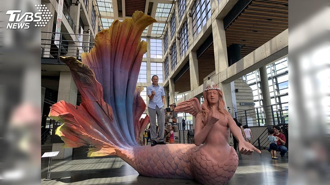 圖/中央社 陶博館泥巴藝術季 「4公尺高美人魚」超吸睛