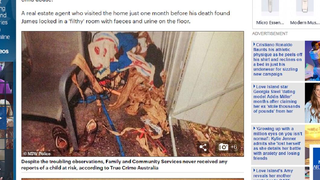 詹姆斯被關在狹小、骯髒的環境。圖/翻攝自每日郵報