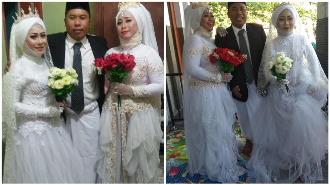 印尼一名人妻超大方,不但陪丈夫迎娶小老婆,還說這樣子超幸福。(圖/翻攝自臉書) 大方陪夫迎娶小老婆 元配曬「3人行」合照:很幸福