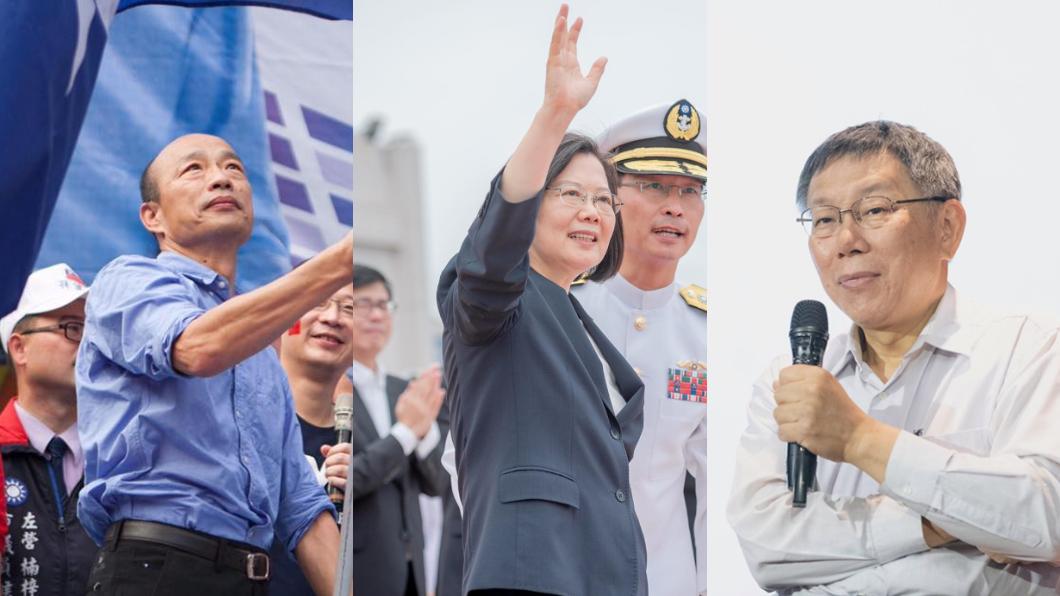 圖/翻攝自韓國瑜、蔡英文、柯文哲臉書 TVBS民調/2020藍綠激戰 韓48%:蔡44%