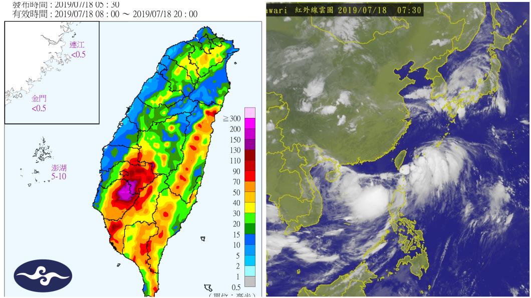入夜後各地雨勢皆會增加,18日晚間至明(19日)南部及中部,都有大雨或豪雨發生的可能。圖/中央氣象局