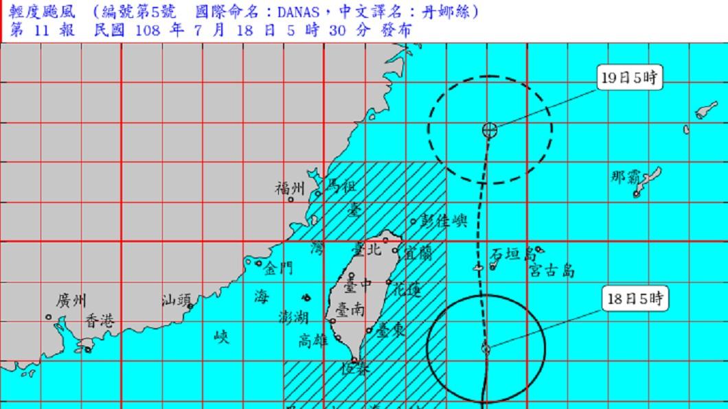 氣象局仍未解除丹娜絲的海上颱風警報。圖/中央氣象局