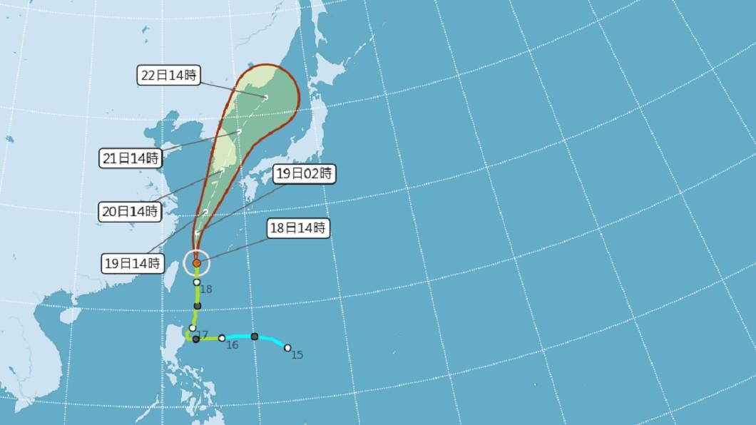 圖/中央氣象局 颱風丹娜絲加速移動 最快晚上8時30分解除海警