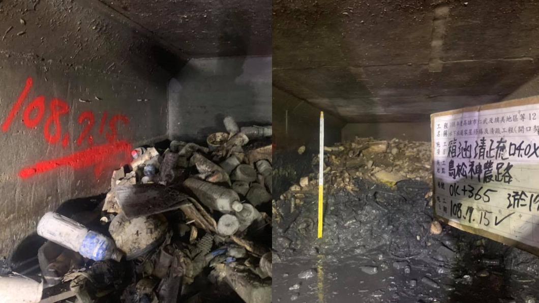 翻攝/韓國瑜臉書 堆滿垃圾!曬出神農路下水道清淤照 韓國瑜:這是良心