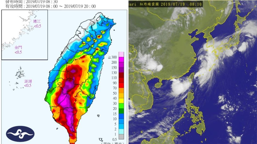 根據氣象局定量降水預報圖,目前嘉義、台南、高雄、屏東地區呈現「紫爆」。圖/中央氣象局