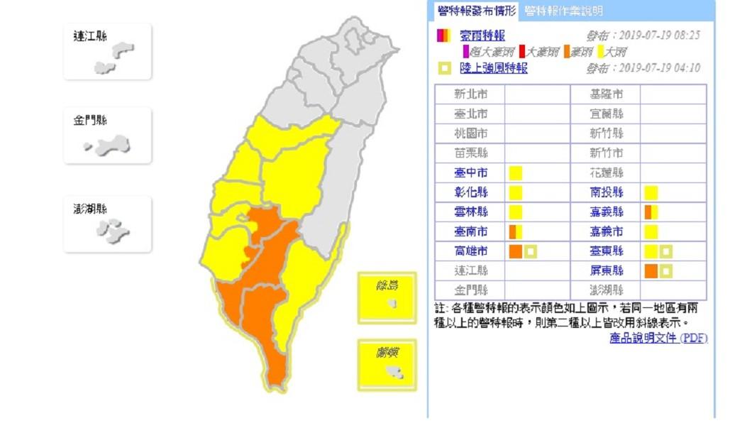 氣象局今(19日)早針對全台10縣市發布豪大雨特報。圖/中央氣象局