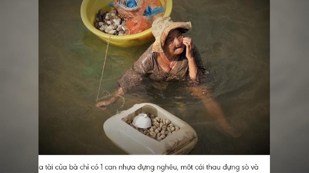 圖/翻攝自baomoi 85歲嬤養精障女 下海撿貝類「皮膚泡到爛」不嫌累