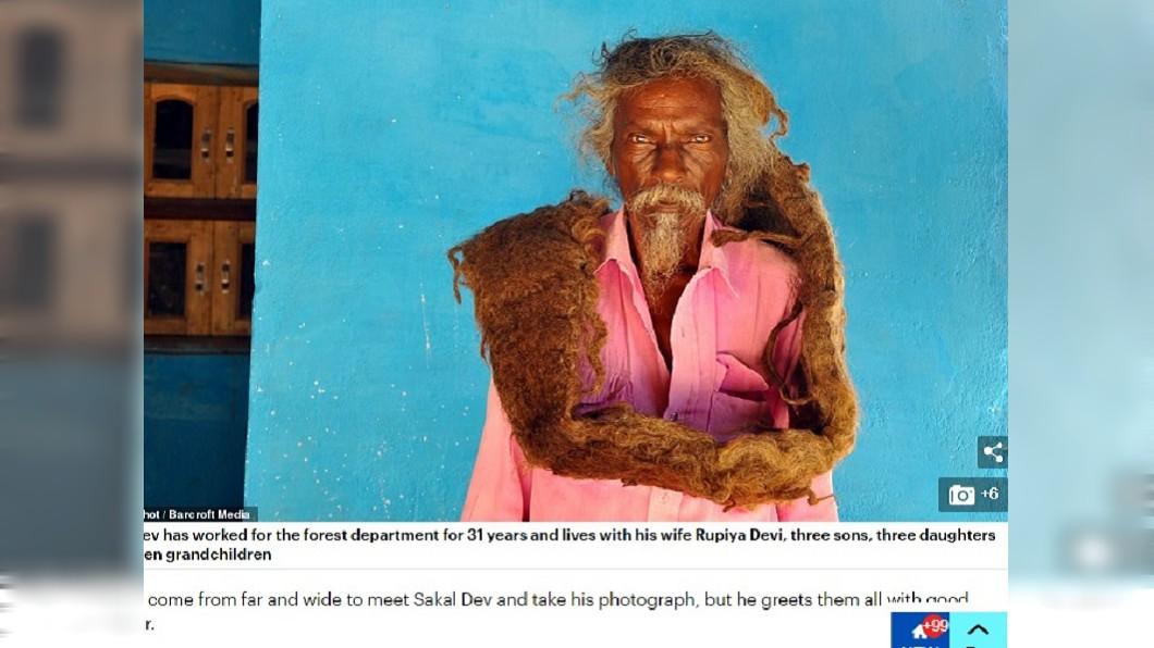 圖/翻攝自每日郵報 被神託夢40年不洗不剪 老翁放任留1.8m長髮
