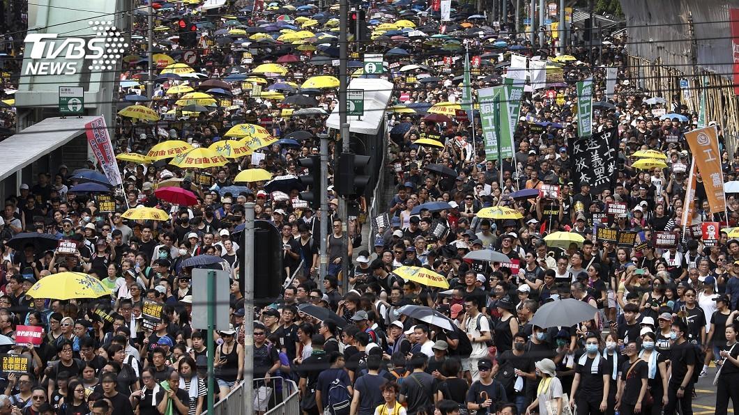 圖/達志影像美聯社 香港721遊行反送中 示威人潮擠爆銅鑼灣