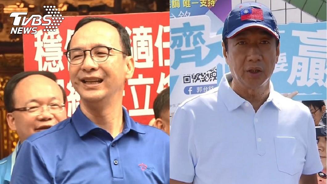 前新北市長朱立倫(左)、鴻海創辦人郭台銘(右)。圖/TVBS資料照 郭台銘脫黨角逐2020? 朱立倫給這建議